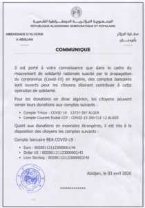 COMMUNIQUE (COVID-19)