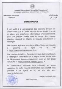 COMMUNIQUE (Algériens Bloqués à l'étranger)