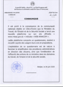 """COMMUNIQUE (PLATEFORME """"WEB ARRACOM"""", MINISTÈRE DE TRAVAIL, DE L'EMPLOI ET DE LA SÉCURITÉ SOCIALE)"""