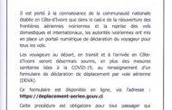 COMMUNIQUE (NOUVELLES MESURES CONCERNANT LA REPRISE DE TRAFIC AÉRIEN EN COTE D'IVOIRE))